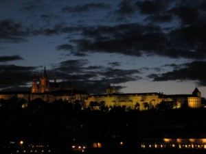 The castle at night from Charles Bridge