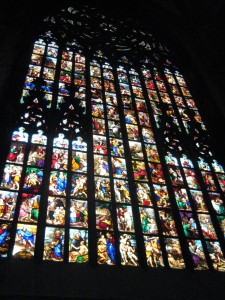 One of the beautiful, allegorical stain glass windows from the 1500s