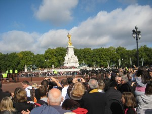 Looking toward Victoria Monument at Buckingham Palace - the guard is going by (I think)