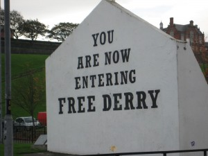 A monument that remains - a testament of the people's will for a Free Derry!  It was once the side of a multi-unit housing development and is now free standing.