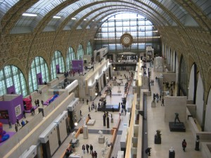 Aerial of the Orsay-- imagine trains running down the middle