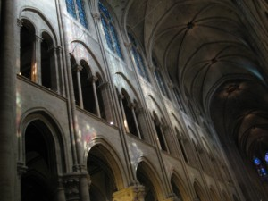 Gothic interior of the cathedral - 3 stories high