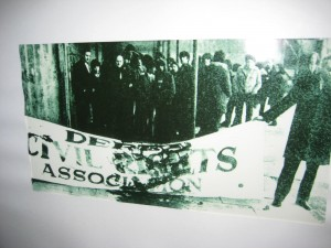 A photo from the Bloody Sunday uprising - this banner is smeared with the blood of an unarmed young man who was shot by the police.