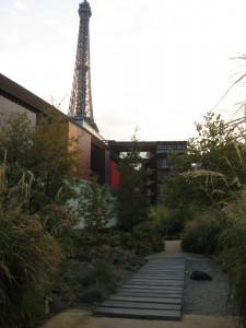 Outside the Quai Branly with a famous landmark showing off behind