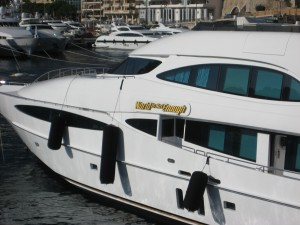 check-out the name of the luxury yacht parked in Monaco's marina